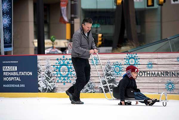 Sled Skating at Dilworth Park